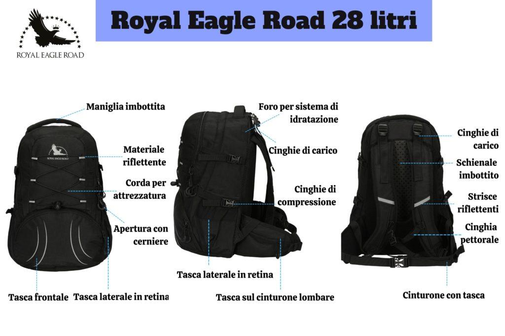 Parti che compongono lo zaino - Royal Eagle Road 28 litri