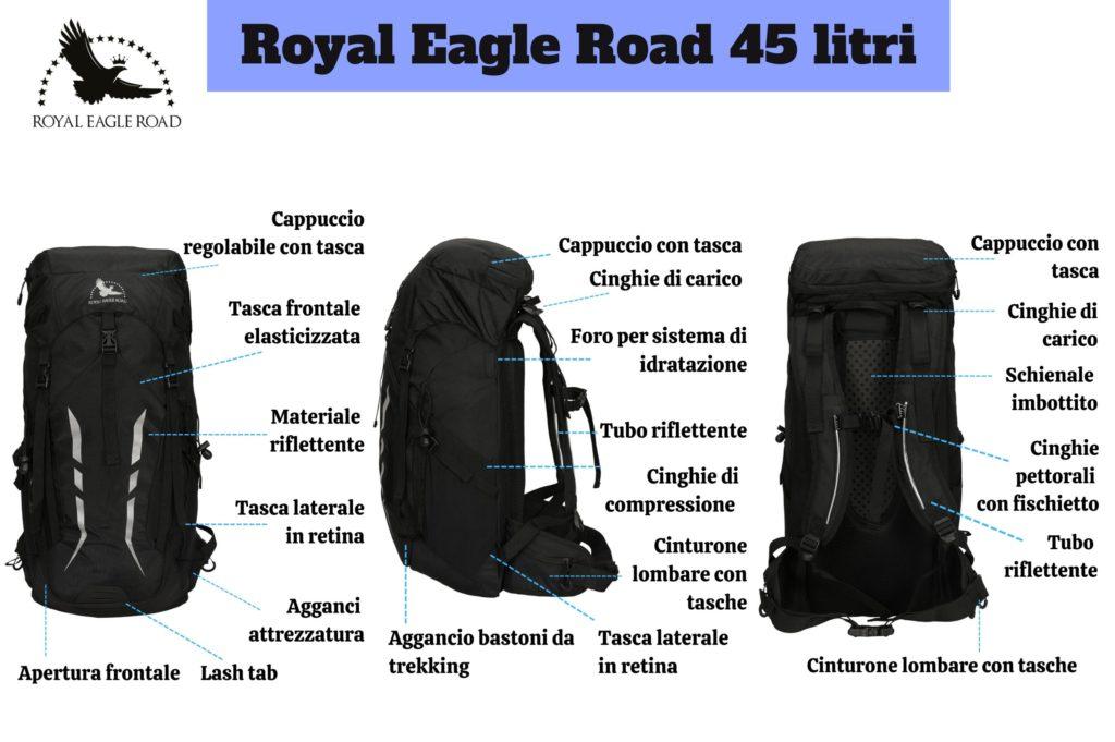 Parti che compongono lo zaino - Royal Eagle Road 45 litri