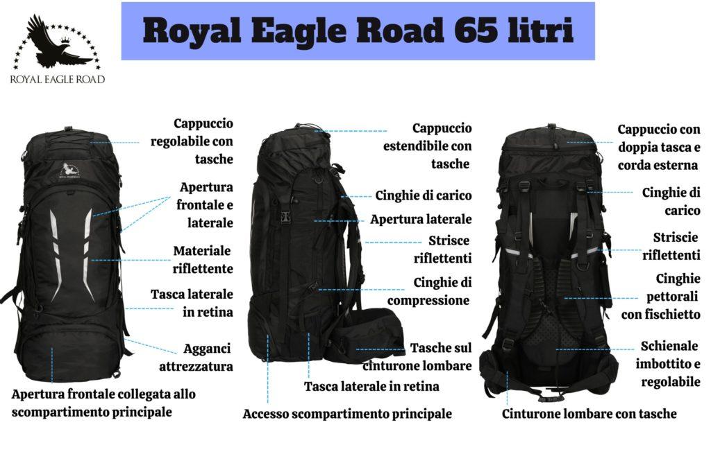 Tutte le parti che compongono lo zaino - Royal Eagle Road 65 litri